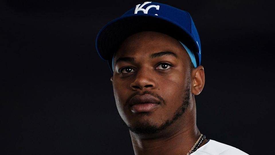 Kansas City Royals outfielder Khalil Lee poses photo spring training media day