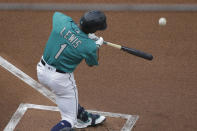 Seattle Mariners' Kyle Lewis pops out during the first inning of a baseball game against the Oakland Athletics, Friday, July 31, 2020, in Seattle. (AP Photo/Ted S. Warren)
