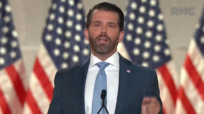 Donald Trump Jr. speaks during the Republican National Convention on Monday, Aug. 24, 2020. . (via Reuters TV)