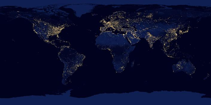 This new image of the Earth at night is a composite assembled from data acquired by the Suomi National Polar-orbiting Partnership (Suomi NPP) satellite over nine days in April 2012 and thirteen days in October 2012. It took 312 orbits and 2.5 terabytes of data to get a clear shot of every parcel of Earth's land surface and islands. (NASA)