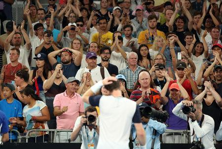 Tennis - Australian Open - First Round - Melbourne Arena, Melbourne, Australia, January 14, 2019. Fans show their support for Britain's Andy Murray after his match against Spain's Roberto Bautista Agut. REUTERS/Lucy Nicholson