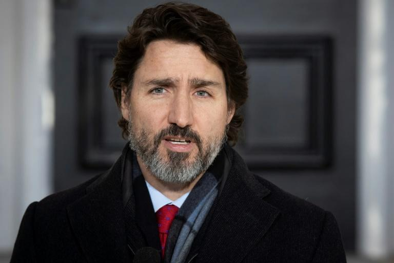 """Prime Minister Justin Trudeau, pictured on March 15, 2021, has attacked the charges against two Canadian citizens as """"trumped-up"""""""