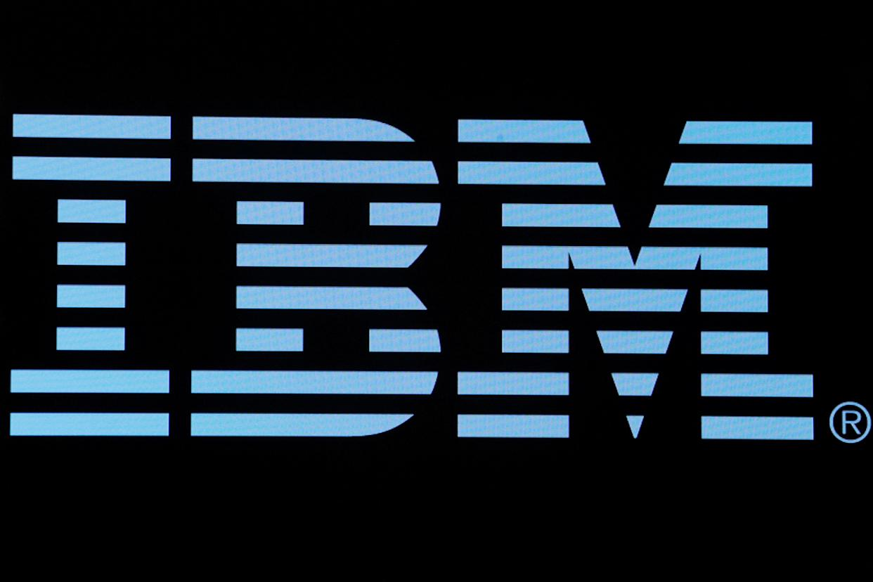 The logo for IBM is displayed on a screen on the floor of the New York Stock Exchange (NYSE) in New York, U.S., June 27, 2018. REUTERS/Brendan McDermid