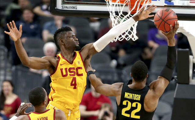 USC's Chimezie Metu (4) leads USC in points and rebounds per game. (AP Photo/Isaac Brekken)