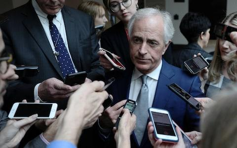 Senator Bob Corker after being briefed by the CIA - Credit: Reuters