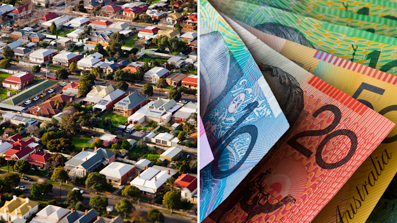 Pictured: Aerial view of Australian suburb where people buy and rent and Australian cash. Images: Getty