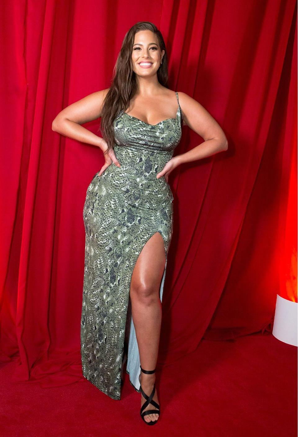 """<p>At the launch of her PrettyLittleThing collection: If you weren't excited about Ashley's fashion collection with PrettyLittleThing already (full details <a href=""""https://www.cosmopolitan.com/uk/fashion/celebrity/a23024094/ashley-graham-pretty-little-thing-collection/"""" rel=""""nofollow noopener"""" target=""""_blank"""" data-ylk=""""slk:here"""" class=""""link rapid-noclick-resp"""">here</a>), you will be after this. The supermodel arrived at her launch party, in a slinky, snakeskin dress, straight out of her range and now we can't wait to see what the rest of the collection looks like. </p>"""