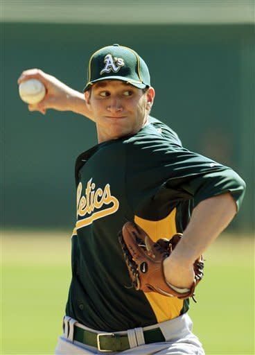 Oakland Athletics' Jarrod Parker pitches against the Los Angeles Dodgers in the second inning of a spring training baseball game on Thursday, March 8, 2012, in Glendale, Ariz. (AP Photo/Mark Duncan)