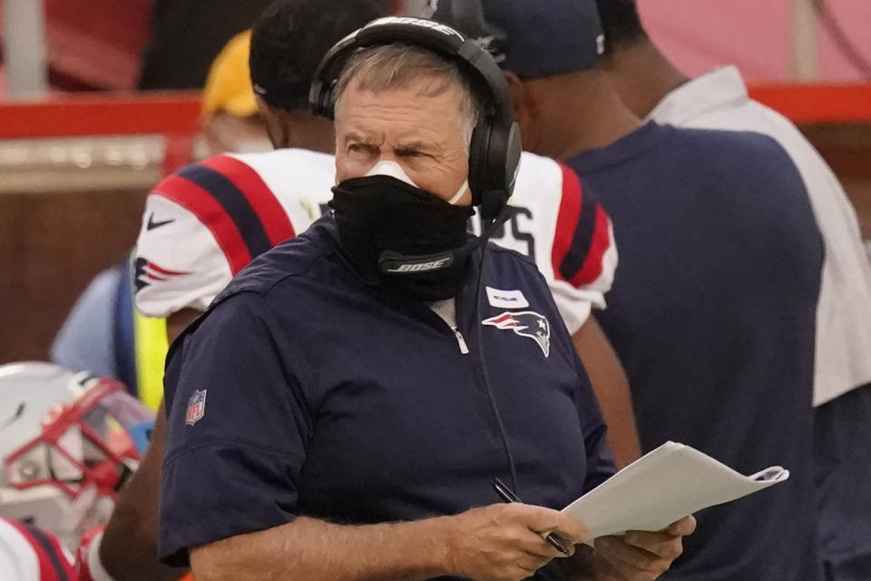 New England Patriots head coach Bill Belichick has had to adjust several times this season. (AP Photo/Charlie Riedel)