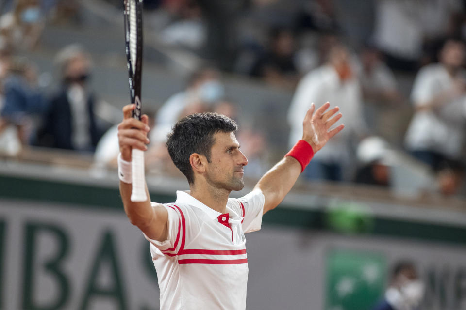 PARIS, FRANCE June 11.   Novak Djokovic of Serbia celebrates his victory against Rafael Nadal of Spain on Court Philippe-Chatrier during the semi finals of the singles competition at the 2021 French Open Tennis Tournament at Roland Garros on June 11th 2021 in Paris, France. (Photo by Tim Clayton/Corbis via Getty Images)