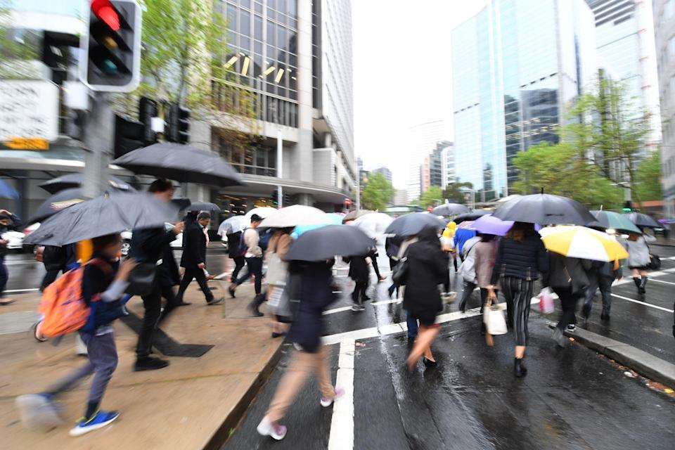 SYDNEY, AUSTRALIA - OCTOBER 04:  Commuters stand at a pedestrian crossing holding umbrellas on October 4, 2018 in Sydney, Australia. Sydney is expected to have its wettest day in three months whilst Australia had its driest September on record last month, with an average rainfall of just 5 millimetres.  (Photo by James D. Morgan/Getty Images)
