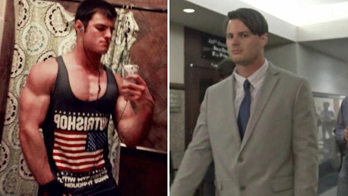 A muscular Mark Howerton before his 2017 arrest, left, and two years later at his trial for the murder of Cayley Mandadi. / Credit: Mark Howerton/CBS News