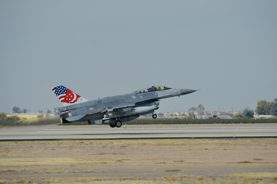 The Republic of Singapore Air Force's F-16 fighter aircraft are currently based at Peace Carvin II detachment in Luke Air Force Base, Arizona in the United States. (PHOTO: Mindef)