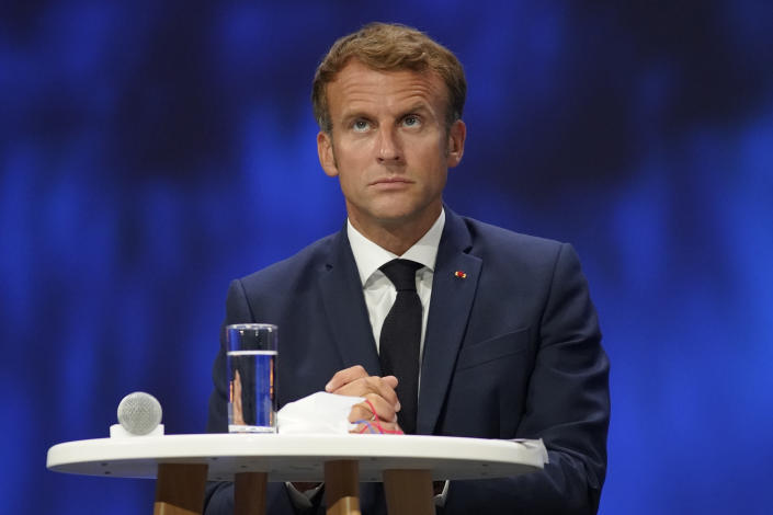 FILE - In this Sept. 14, 2021, file photo French President Emmanuel Macron attends the Sea Economy meeting in Nice, southern France. Liberty and Fraternity. Ties between the United States and its oldest ally, France, have long been fraternal, but they've also been marked by deep French unease over their equality. French concerns about being the junior partner in the relationship boiled over last week when the U.S., Britain and Australia announced a new security initiative for the Indo-Pacific. (AP Photo/Daniel Cole, Pool, File)