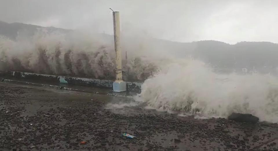 <p>Waves crash the shore as Super Typhoon Surigae moves close to the Philippines in Gigmoto</p> (JOHN EMMANUEL TAYO via REUTERS)