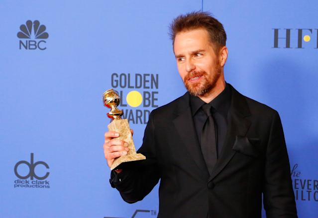 Sam Rockwell did not acknowledge the Time's Up movement in his acceptance speech. (Photo: Getty Images)