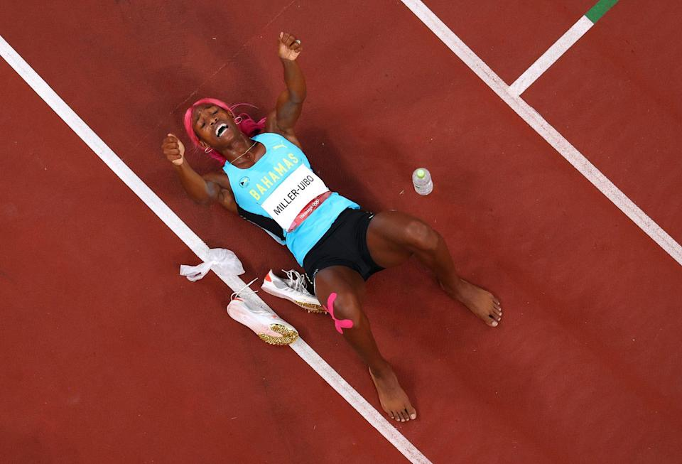 <p>Shaunae Miller-Uibo of Team Bahamas celebrates after winning the gold medal in the Women's 400m Final.</p>