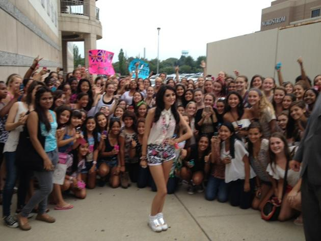 Celebrity photos: Cher Lloyd has been taking the US by storm over the past couple of months, with her fanbase growing and growing. The singer tweeted this picture of herself hanging out with a group of fans after a performance.