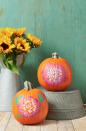 """<p>The ombré design you see here is way easier to create than you might think. Just dab increasingly darker paint colors onto your pumpkin, blending them as you go. </p><p><strong>Make the pumpkins:</strong> </p><p>Tape a floral stencil to an orange pumpkin.</p><p>Using a foam pouncer, lightly dab a light-colored craft paint onto the pumpkin to fill in the center petals.</p><p>While the paint is still wet, dab a darker paint just outside the center petals, blending the paints as you go.</p><p>Repeat step 3 with an even darker color on the petals' outer edges. Let dry, then fill in the stencil's leaves (if applicable) with another color paint.</p><p><a class=""""link rapid-noclick-resp"""" href=""""https://go.redirectingat.com?id=74968X1596630&url=https%3A%2F%2Fwww.walmart.com%2Fip%2FFolkArt-5070E-Acrylic-Craft-Paint-Set-Matte-Finish-Festival-Set-of-12-24-fl-oz%2F52620447&sref=https%3A%2F%2Fwww.thepioneerwoman.com%2Fholidays-celebrations%2Fg32894423%2Foutdoor-halloween-decorations%2F"""" rel=""""nofollow noopener"""" target=""""_blank"""" data-ylk=""""slk:SHOP CRAFT PAINT"""">SHOP CRAFT PAINT </a></p>"""