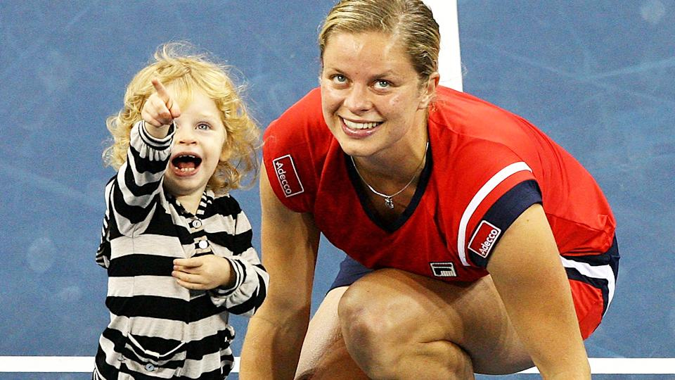 Kim Clijsters, pictured here with daughter Jada after the US Open final in 2009.
