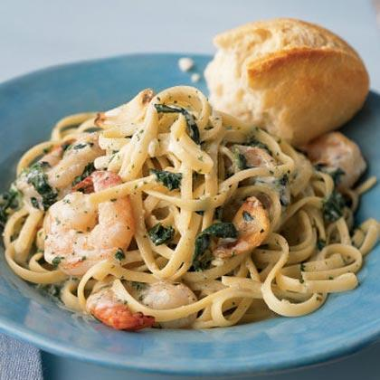"""<p>Make sure to buy frozen loose-leaf spinach for this <a href=""""https://www.myrecipes.com/shrimp-recipes/"""" rel=""""nofollow noopener"""" target=""""_blank"""" data-ylk=""""slk:Shrimp"""" class=""""link rapid-noclick-resp"""">Shrimp</a> Florentine dish since you can measure just what you need. Purchase fresh, peeled garlic to save on prep time.</p>"""