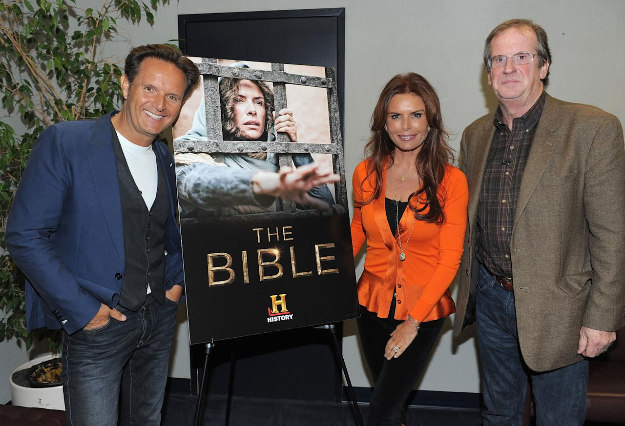 LOS ANGELES, CA - JUNE 12:  Executive producers Mark Burnett, Roma Downey and Pete Hammond attend a special event for History's 'The Bible' at Harmony Gold Theatre on June 12, 2013 in Los Angeles, California.  (Photo by Angela Weiss/Getty Images for History)