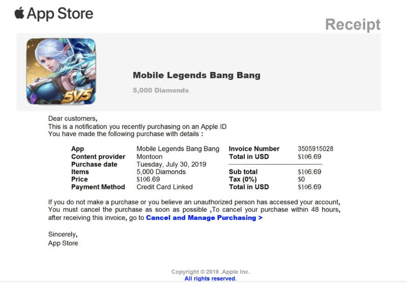 The photo is a screenshot of an Apple App Store bill which is charging $106.69 for a game called Mobile Legends Bang Bang.