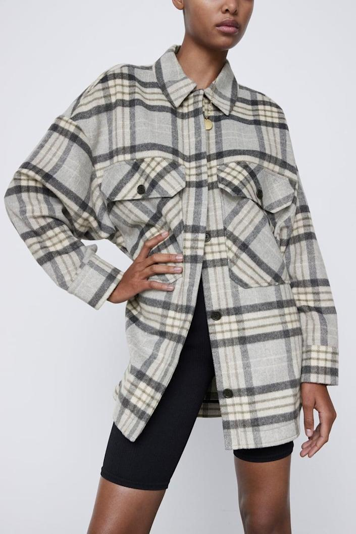 <p>If your wardrobe is mostly black clothes, this <span>Zara Plaid Overshirt</span> ($70) will fit in nicely.</p>