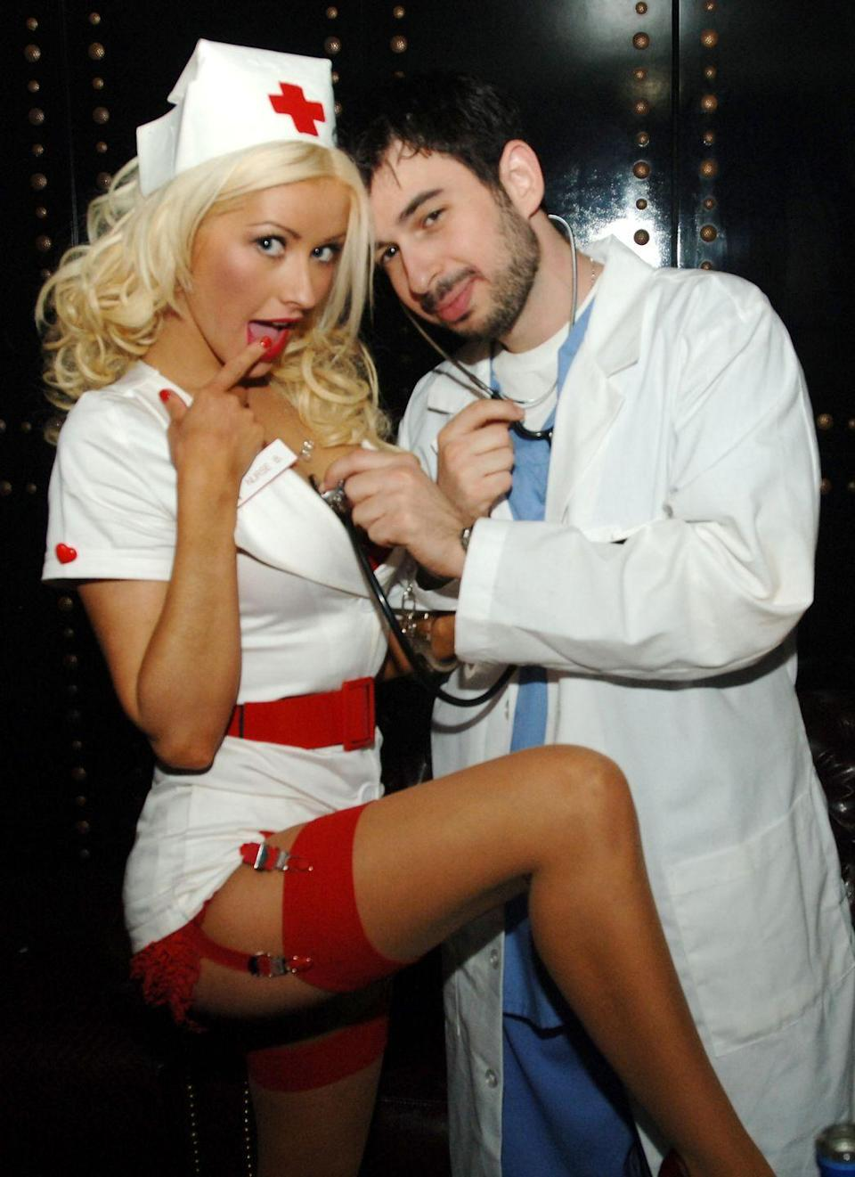 <p>Christina Aguilera and her then-husband, Jordan Bratman, kept it simple with a sexy nurse and doctor combo in 2005.</p>
