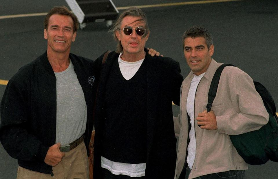 Joel Schumacher promoting Batman And Robin with Arnold Schwarzenegger and George Clooney (Credit: Rex Features)