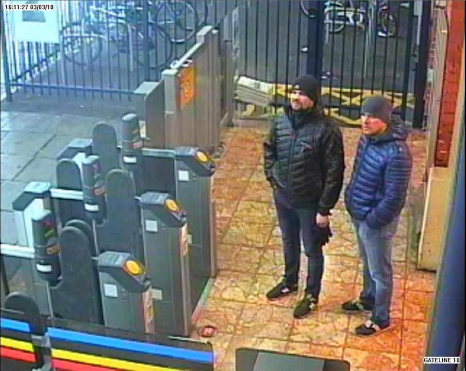Handout CCTV image issued by the Metropolitan Police of Russian Nationals Ruslan Boshirov and Alexander Petrov at Salisbury train station on March 3. (Met Police)