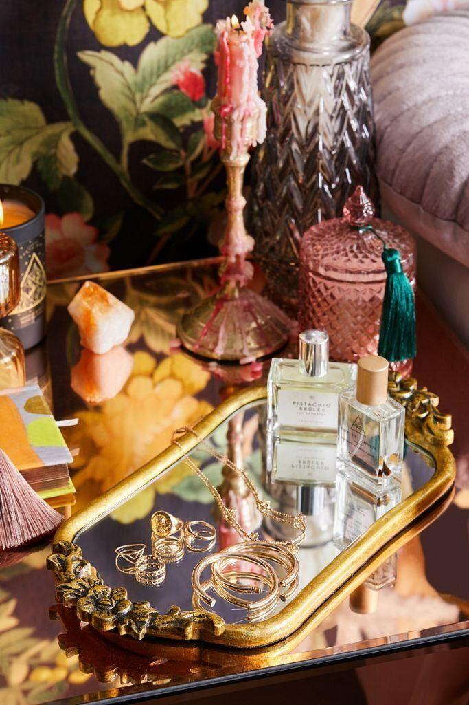 """Put your sweet-smelling perfumes, serums and rings on this vanity tray, which looks like trinket from a different era.<a href=""""https://fave.co/35eZ8z3"""" target=""""_blank"""" rel=""""noopener noreferrer"""">Find it for $34 at Urban Outfitters</a>."""