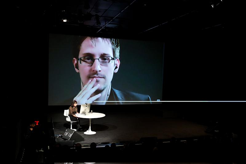 Edward Snowden talks with Jane Mayer via satellite at the 15th Annual New Yorker Festival in October 2014 in New York. (Photo: Christopher Lane/AP Images for The New Yorker)
