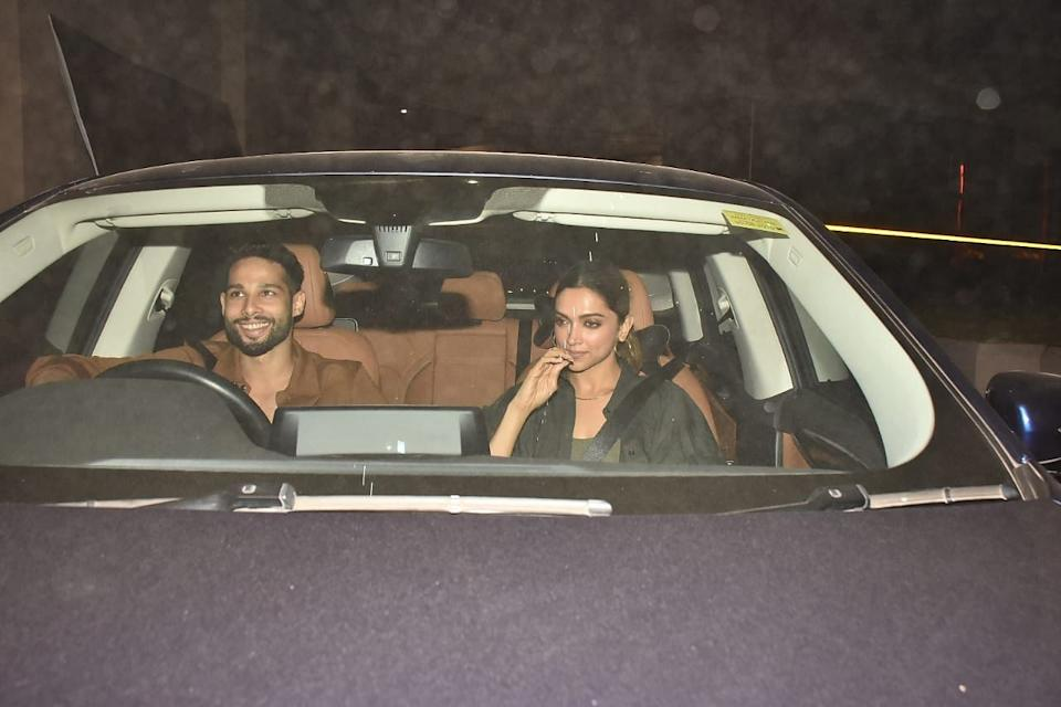 Deepika and Siddhant outside a studio in Bandra.