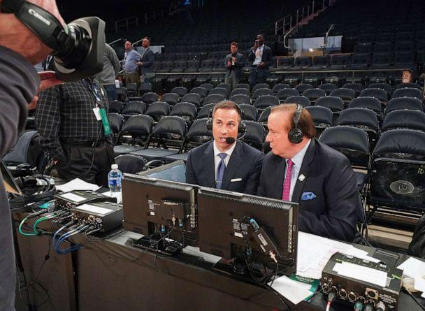 PHOTO: Fox Sports announcer Tim Brando, right, and analyst Nick Bahe on the air after a quarterfinal game between the St. John's Red Storm and the Creighton Bluejays at Madison Square Garden, March 12, 2020, in New York City. (Porter Binks/Getty Images)