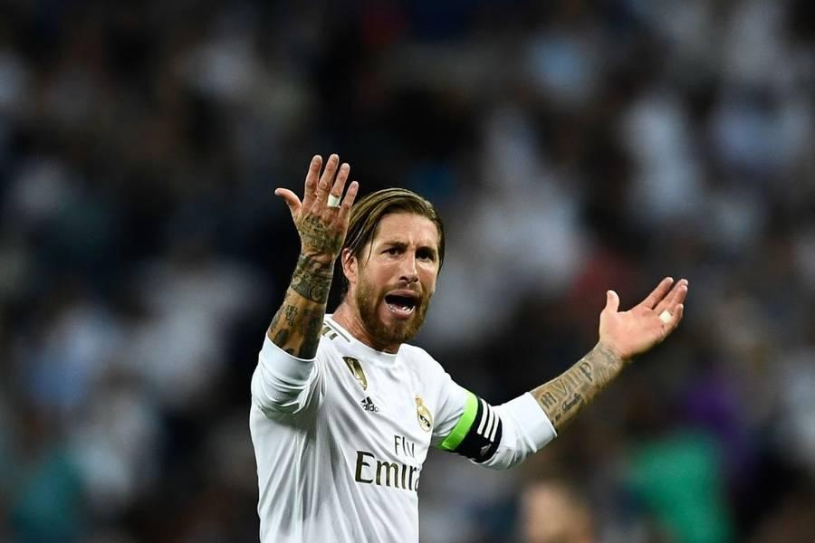 Real Madrid's Spanish defender Sergio Ramos reacts after scoring during the UEFA Champions league Group A football match between Real Madrid and Club Brugge at the Santiago Bernabeu stadium in Madrid on October 1, 2019. (Photo by OSCAR DEL POZO / AFP) (Photo credit should read OSCAR DEL POZO/AFP/Getty Images)