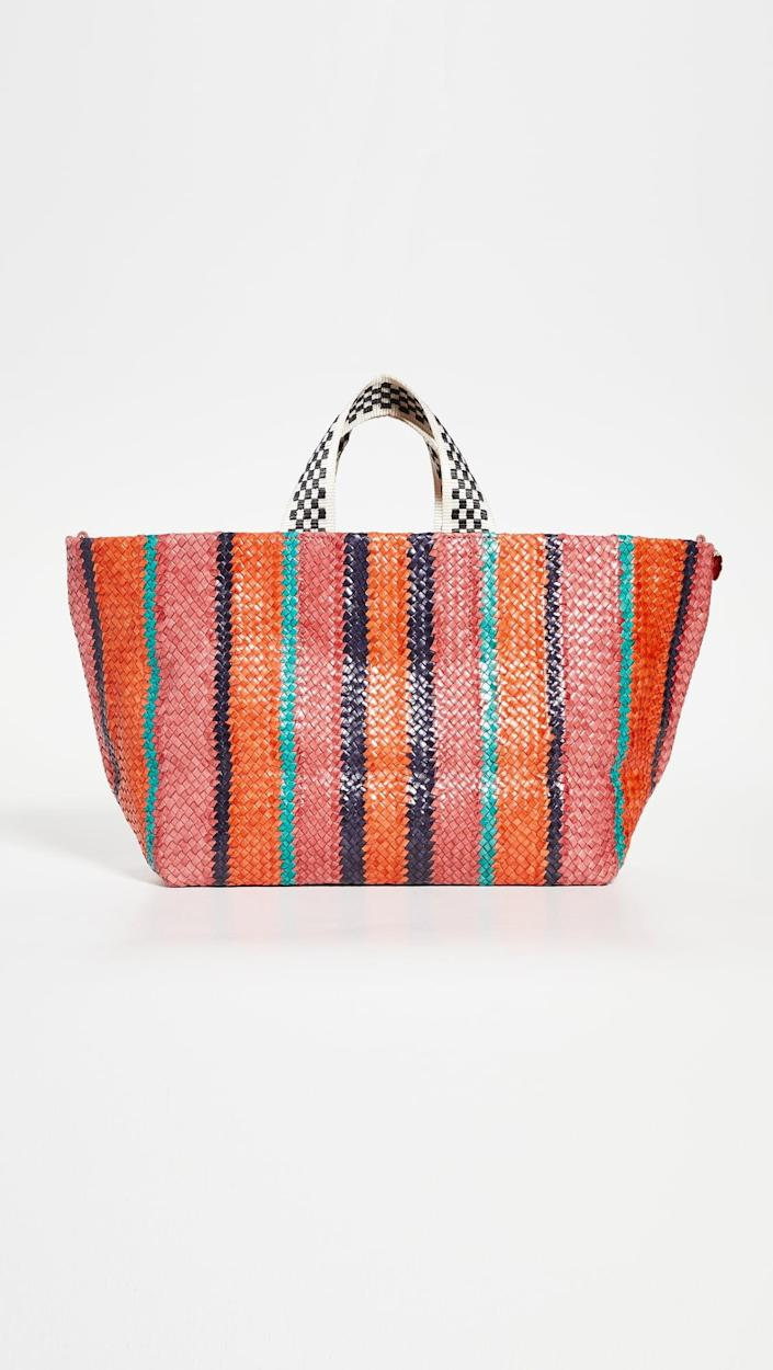 <p>Be bold and rock this fun <span>Clare V. Bateau Tote</span> ($475).</p>