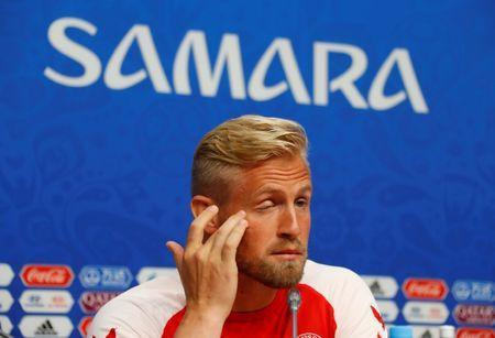 Soccer Football - World Cup - Denmark Press Conference - Samara Arena, Samara, Russia - June 20, 2018 Denmark's Kasper Schmeichel during the press conference REUTERS/David Gray