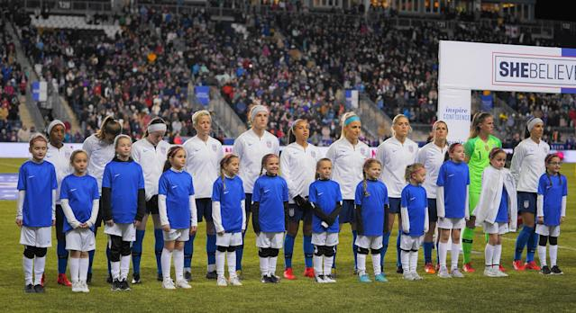 The United States women's national team players are standing together for gender equality. (Getty)