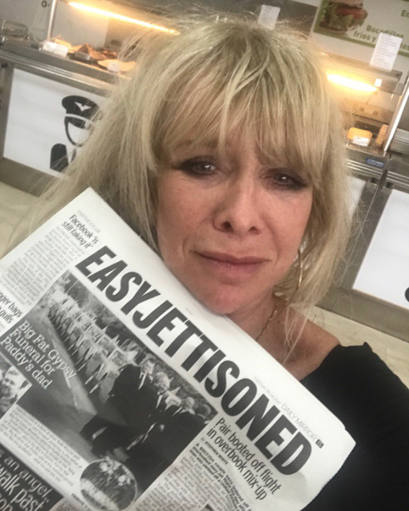 The 62-year-old model shared another snap featuring a newspaper article about a similar story (Photo: Twitter/JoWoodOfficial)