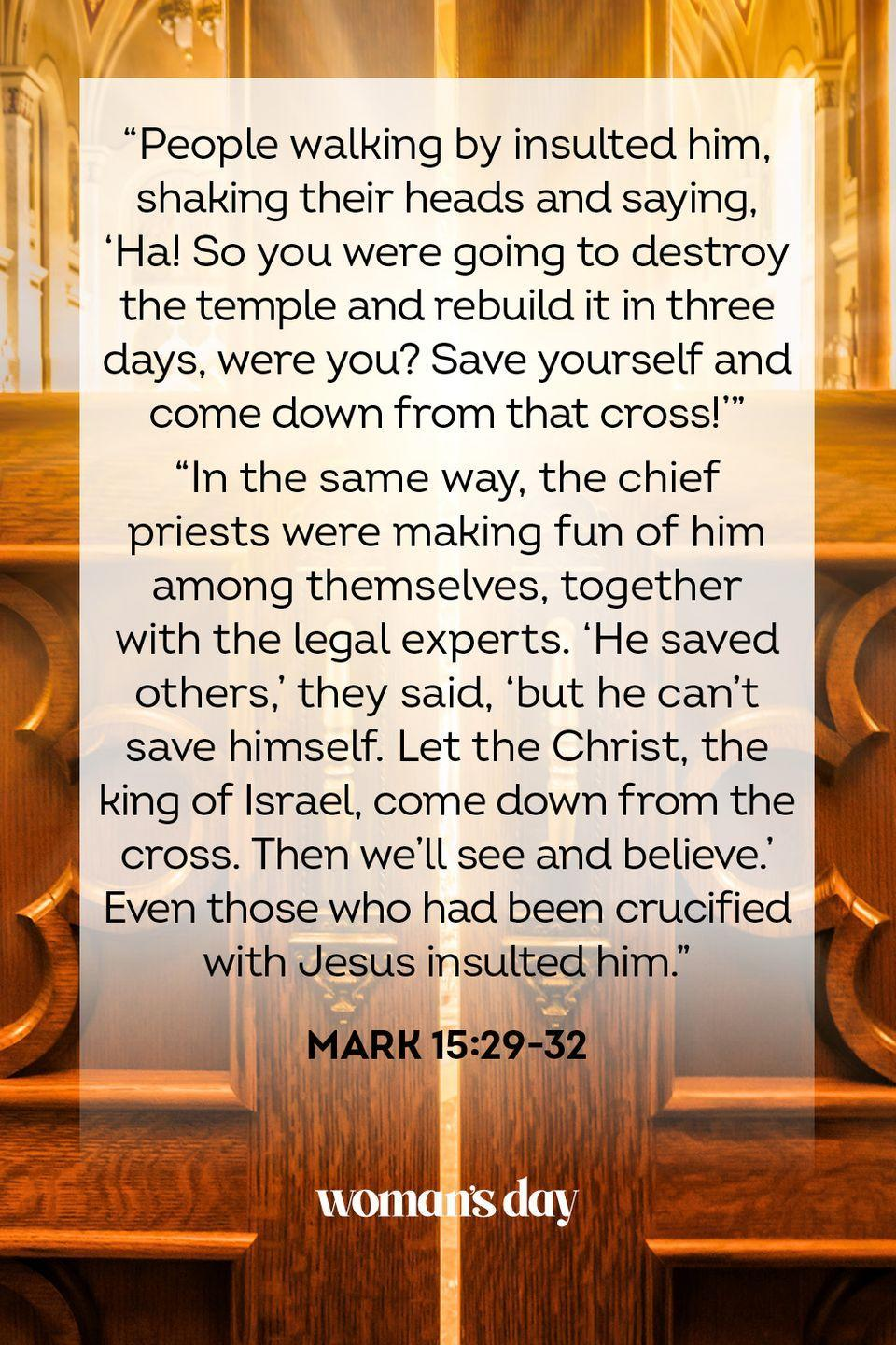 "<p>""People walking by insulted him, shaking their heads and saying, 'Ha! So you were going to destroy the temple and rebuild it in three days, were you?Save yourself and come down from that cross!'""</p><p>""In the same way, the chief priests were making fun of him among themselves, together with the legal experts. 'He saved others,' they said, 'but he can't save himself. Let the Christ, the king of Israel, come down from the cross. Then we'll see and believe.' Even those who had been crucified with Jesus insulted him."" — Mark 15:29-32</p>"