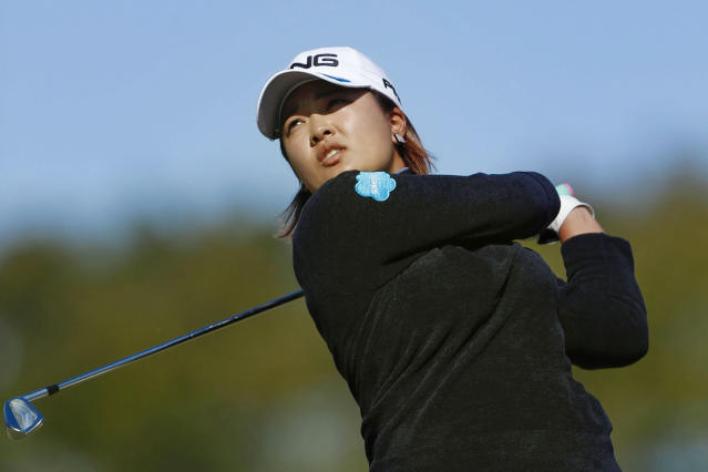 Japan's Ai Suzuki watches her shot during the second round of the LGPA Japan Classic golf tournament in Otsu, Shiga prefecture, western Japan Saturday, Nov. 9, 2019. (Kyodo News via AP)