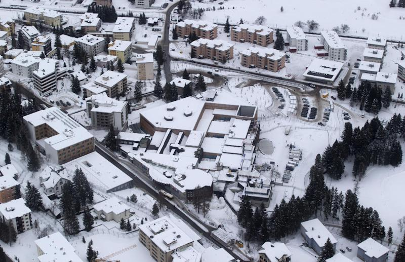 An areal view of the Congress Center in Davos, Switzerland, Tuesday, Jan. 22, 2013, the day before the start of the annual meeting of the World Economic Forum. (AP Photo/Michel Euler)