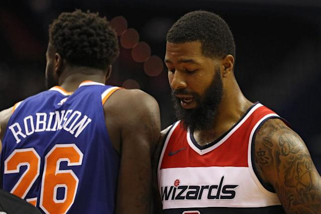 "<a class=""link rapid-noclick-resp"" href=""/nba/teams/was"" data-ylk=""slk:Washington Wizards"">Washington Wizards</a> forward <a class=""link rapid-noclick-resp"" href=""/nba/players/4894/"" data-ylk=""slk:Markieff Morris"">Markieff Morris</a> had plenty to say before and after his preseason debut. (Getty Images)"