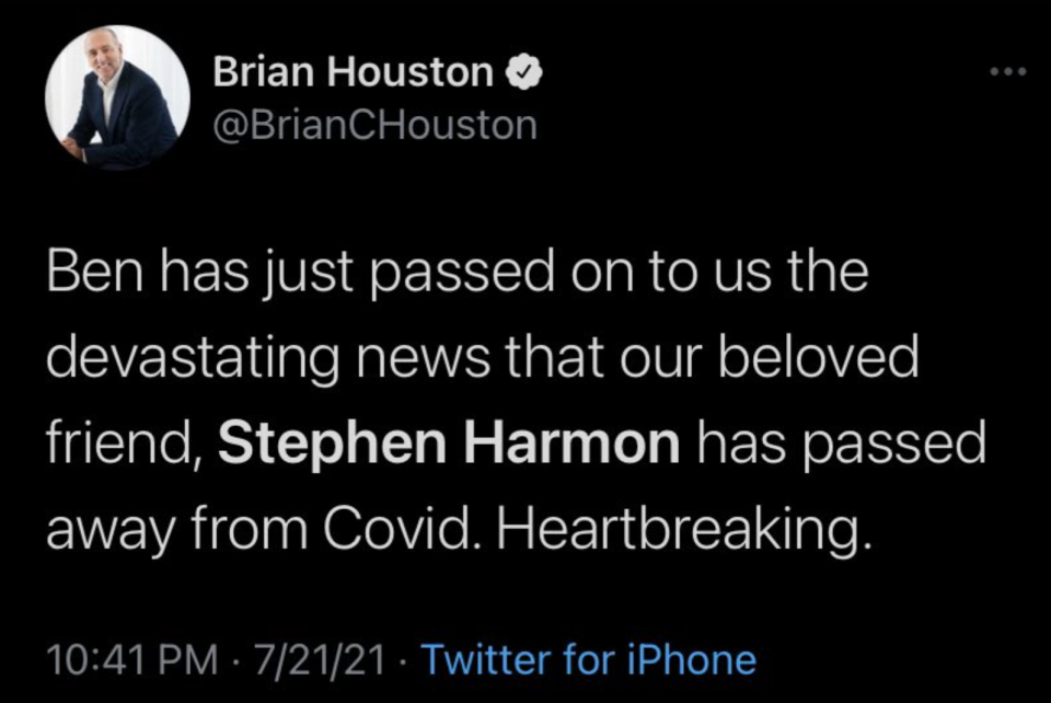 The Hillsong founder mourned the news on Twitter before later deleting the post. Source: Twitter