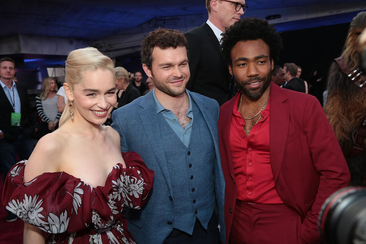 <p>Emilia Clarke, Alden Ehrenreich, and Donald Glover. (2018 Getty Images) </p>