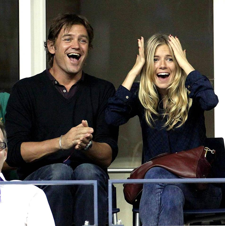 "Sienna Miller and her latest boy toy, George Barker, cheer on Nadal as he dispatches German Nicholas Kiefer in four sets in the second round of the tournament. Juan Soliz/<a href=""http://www.pacificcoastnews.com/"" target=""new"">PacificCoastNews.com</a> - September 4, 2009"