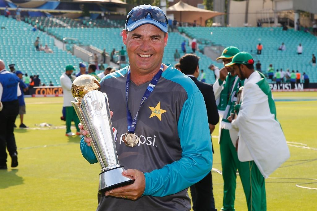 Pakistan coach Mickey Arthur celebrates his side's victory in the Champions Trophy final in London in June 2017 (AFP Photo/Ian KINGTON)