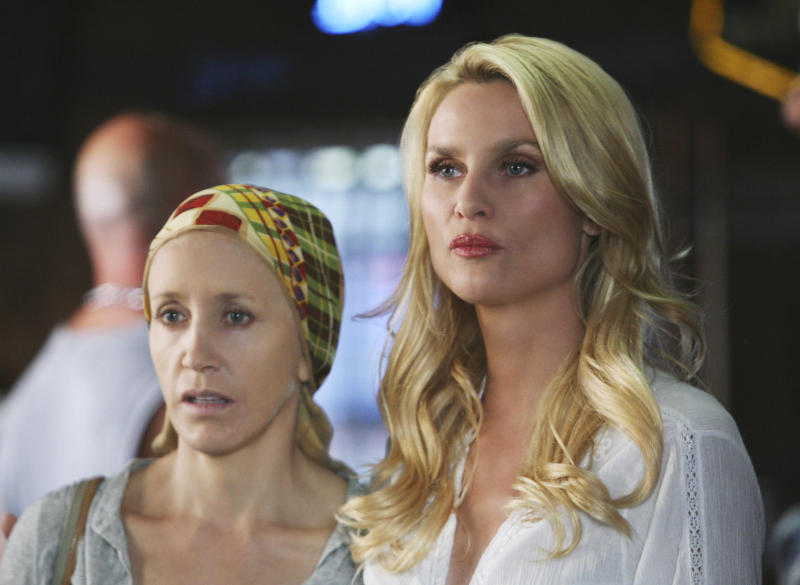 "Felicity Huffman and Nicolette Sheridan on ABC's ""Desperate Housewives."""