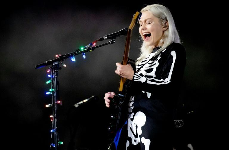 Phoebe Bridgers, shown here performing at an outdoor concert in September 2020, is up for Best New Artist along with several rock Grammys